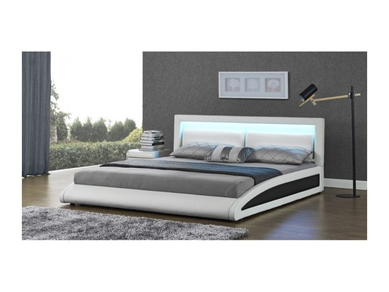 magnifique lit vegas blanc led 140x190 sbrled 006 140 wh conforama. Black Bedroom Furniture Sets. Home Design Ideas