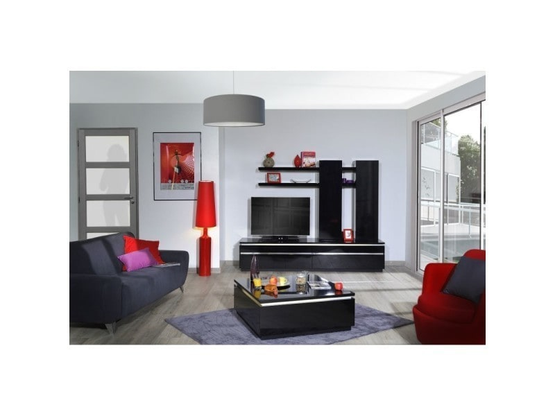 meuble tv design 220 cm glam l 220 x p 50 x h 170 cm noir vente de autres conforama. Black Bedroom Furniture Sets. Home Design Ideas