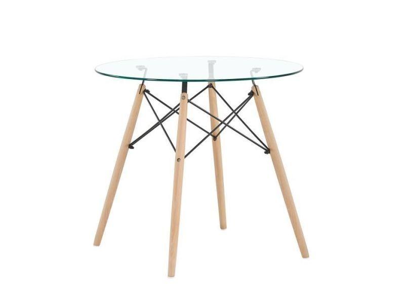 Table à manger ronde en verre transparent scandinave pieds en hêtre et support en métal