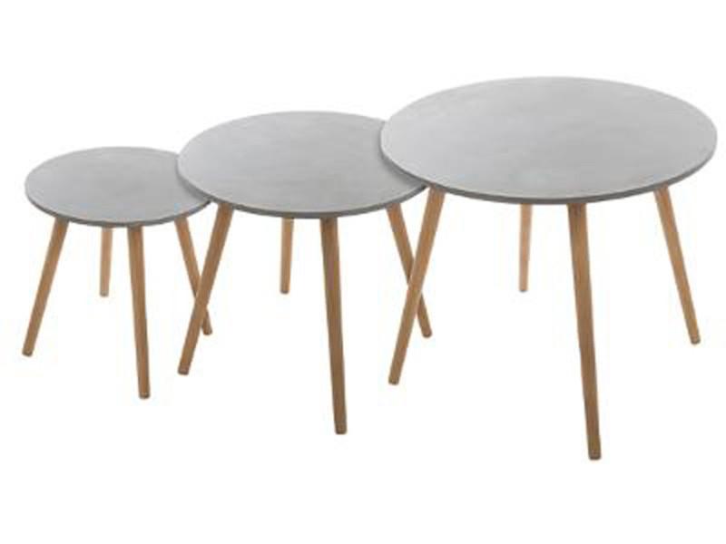 Lot de 3 tables à café effet ciment coloris gris -pegane