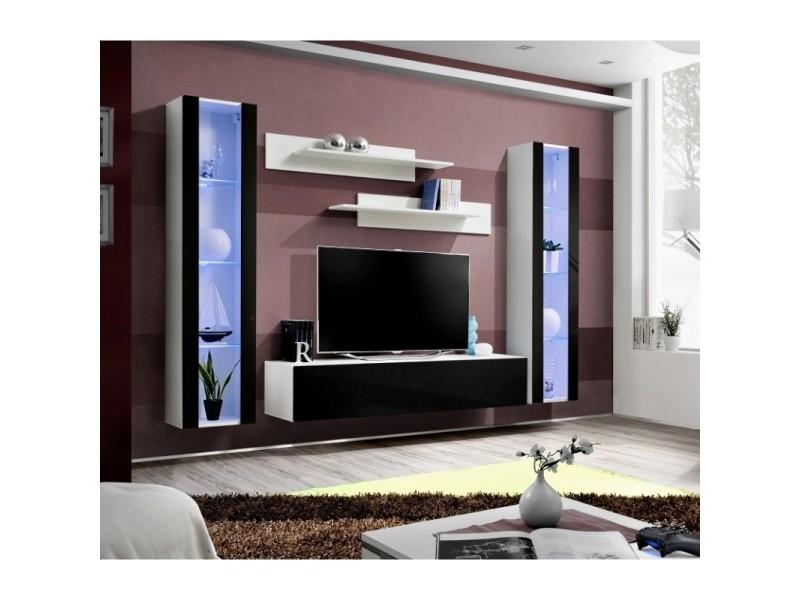 Ensemble meuble tv mural - fly v - 260 cm x 190 cm x 40 cm - blanc et noir