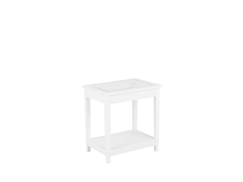 Table d'appoint blanche avec plateau en verre attu 126918