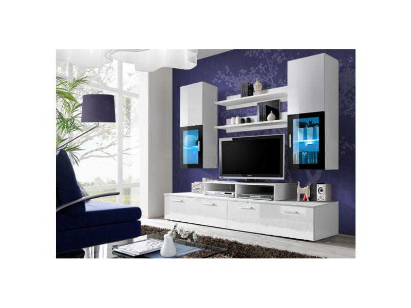 Ensemble meuble tv mural - mini - 200 cm x 190 cm x 45 cm - blanc