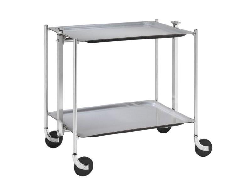 Table roulante pliable grise avec 2 plateaux vente de wadiga conforama - Table grise conforama ...