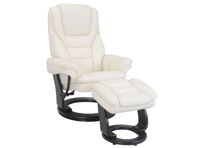 Fauteuil relax versaille + pouf repose pieds cuir blanc