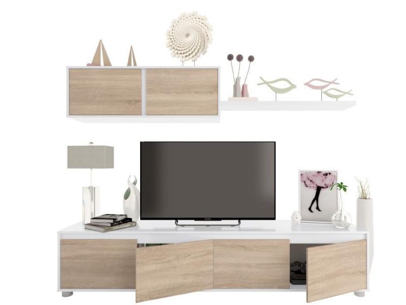 Ensemble Meuble Tv Scandinave Alidi Bois Et Blanc Avec Meuble Haut Vente De Meuble Tv Conforama