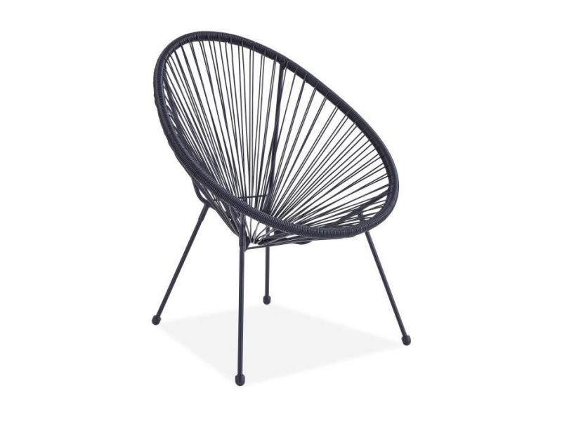 Chaise longue - transat - bain de soleil fauteuil design en forme d'oeuf - cordage en plastique noir mana