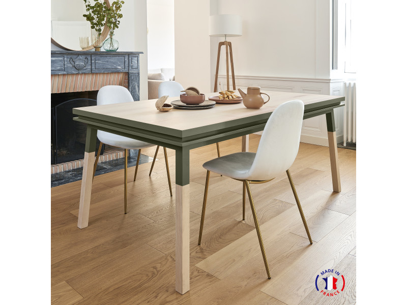 Table extensible bois massif 140x90 cm vert lancieux - 100% fabrication française