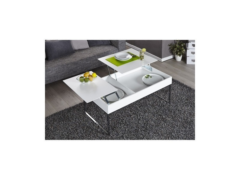 Table basse design avec plateau relevable blanc oriane vente de
