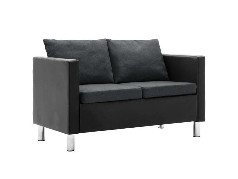 Stylé meubles gamme gaborone canapé à 2 places simili-cuir noir et gris foncé
