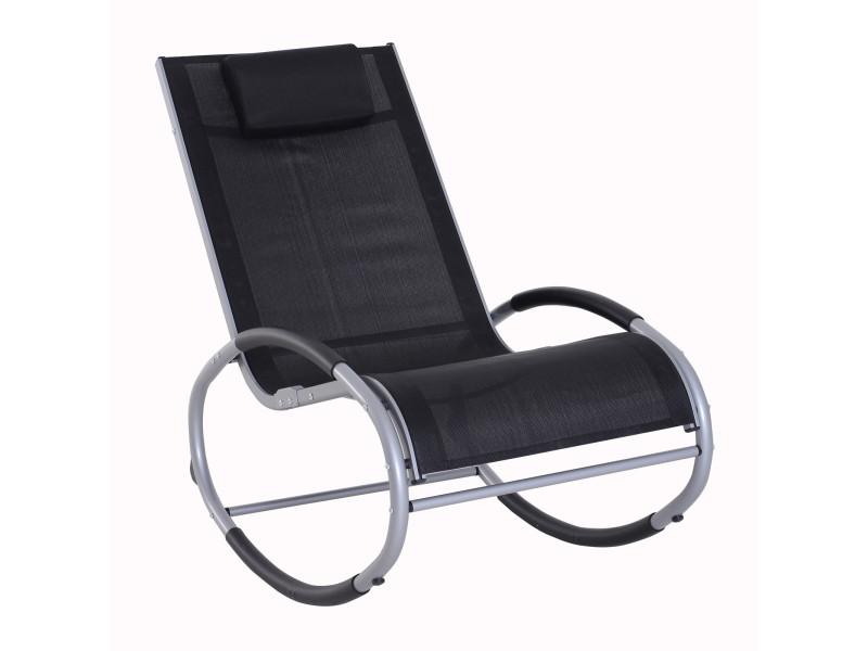 Fauteuil chaise longue à bascule design contemporain dim. 120l x 61l x 88h cm alu. Polyester noir