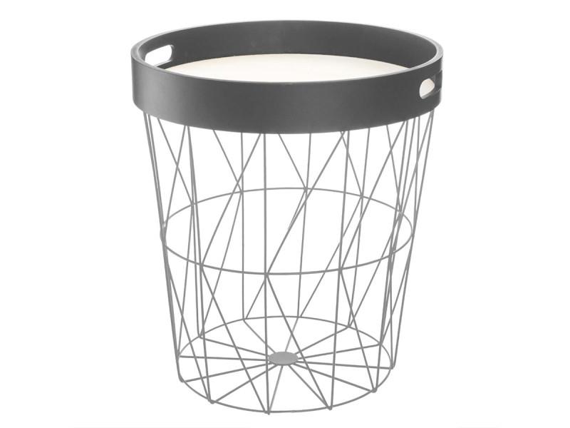 Atmosphera - table à café coloris gris kumi avec plateau amovible