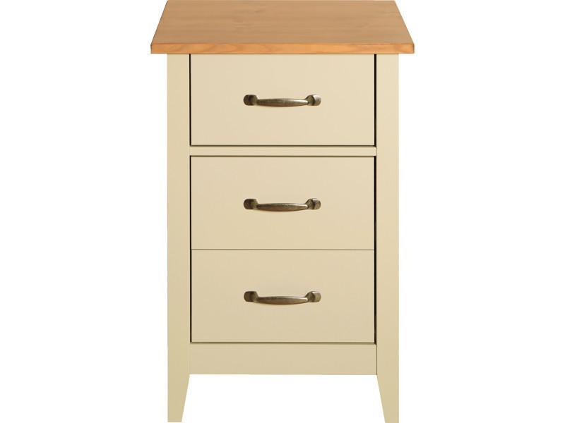 Table de chevet coloris crème en mdf et pin - dim : 65 x 44 x 40 cm -pegane-