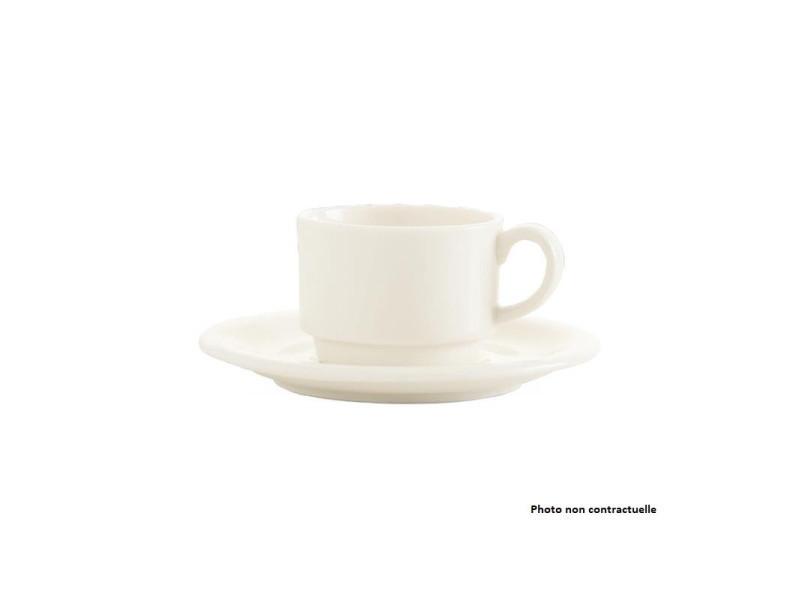 Tasse empilable porcelaine crema 90 ml - lot de 12 - fine dine - porcelaine 9 cl
