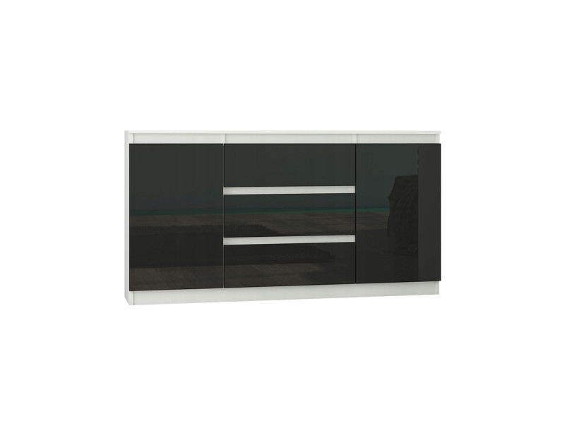 Albi w2 | commode contemporaine meuble rangement chambre/salon/bureau | 140x40x76 | buffet 3 tiroirs + 2 portes | finition laquée | blanc/noir gloss