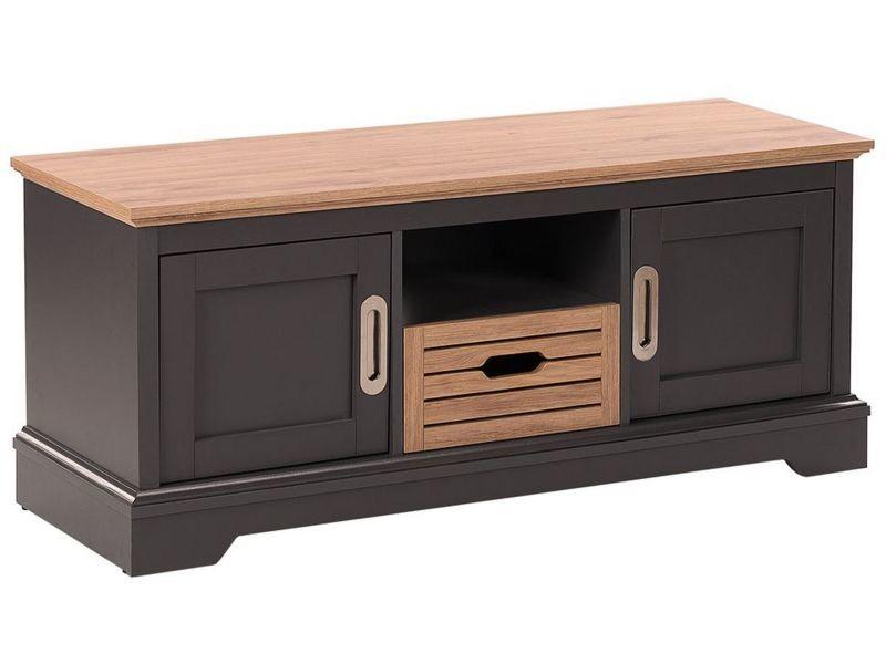 Meuble tv gris foncé et bois clair garet 186753
