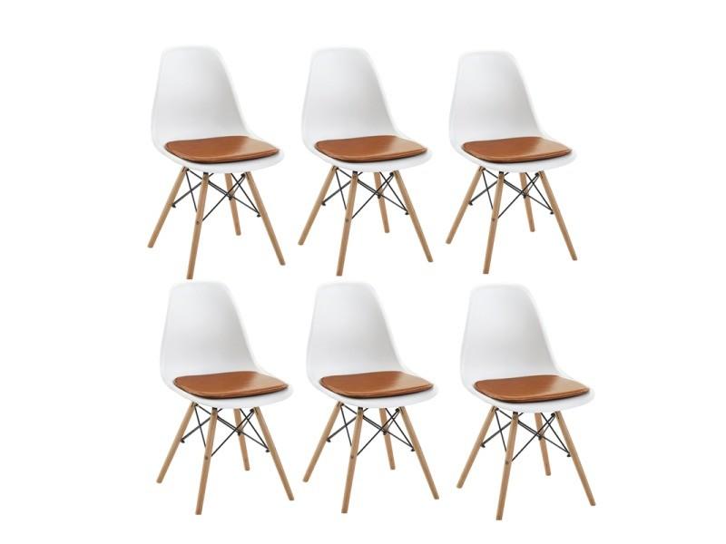 Lot de 6 blanc chaise scandinave design+6 coussins pour chaises,camel