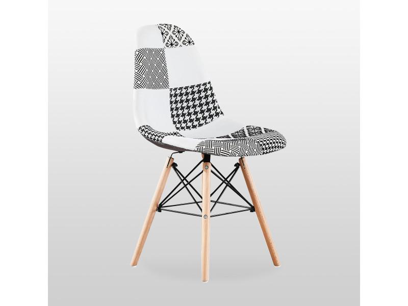 Chaise scandinave en tissu patchwork et métal noir - noir & blanc