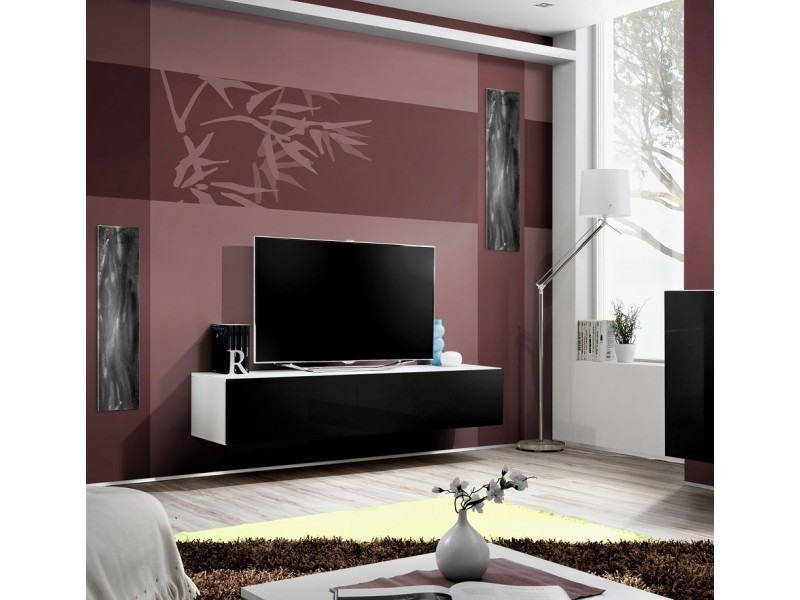 grand meuble tv fly suspendre 160x30x40cm noir et. Black Bedroom Furniture Sets. Home Design Ideas