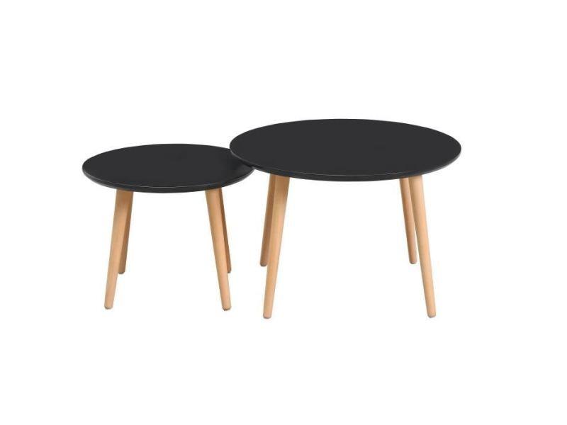 Table gigogne 2 tables basses gigognes rondes inkeri scandinave - noir mat - ø60 cm et ø40 cm