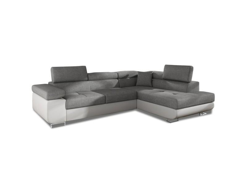 Canapé d'angle droit convertible marius gris et blanc
