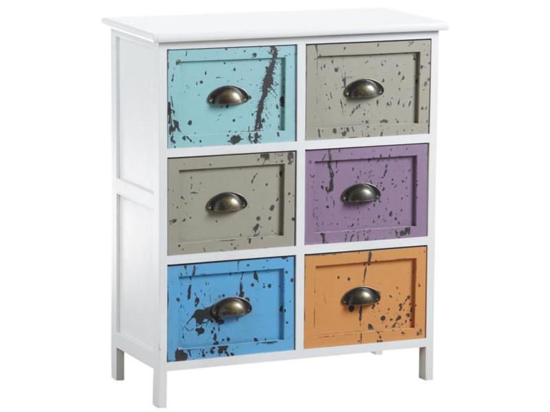 Commode multicolore en bois avec 6 tiroirs - 60 x 28 x 70 cm -pegane- PEGANE