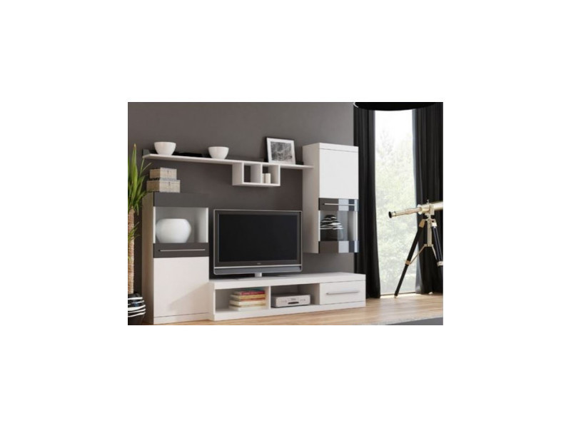 Ensemble meuble tv nicko 220cm - couleur: blanc