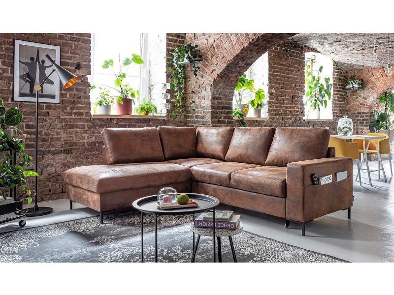 Bobochic lilly l - canapé d'angle l - 5 places - convertible - industriel vintage - angle gauche couleur - marron