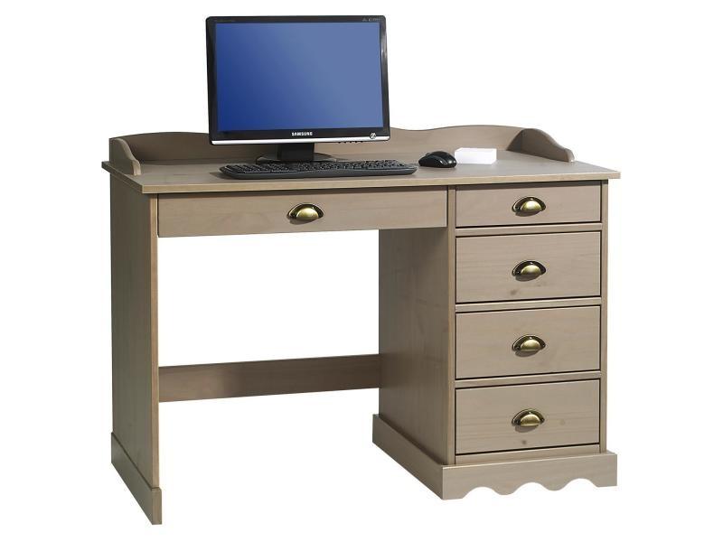 Bureau colette rangement avec tiroirs et plateau avec corniche