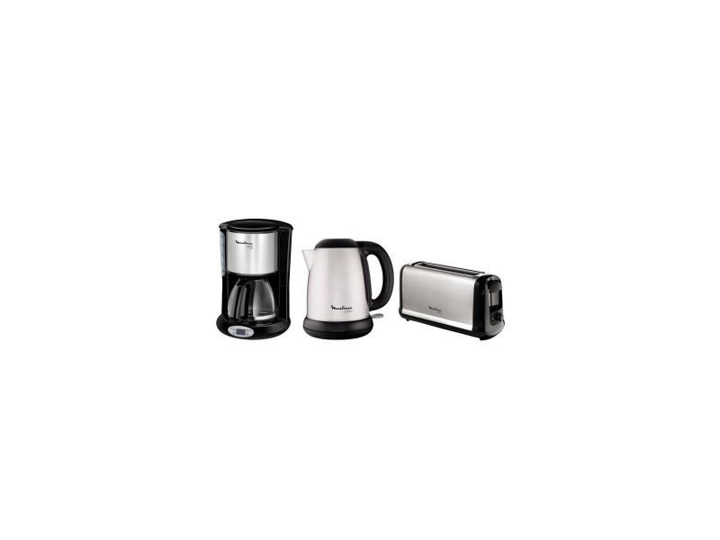 Pack moulinex subito : bouilloire electrique by540d10 + cafetiere filtre fg362810 + grille-pain ls260800