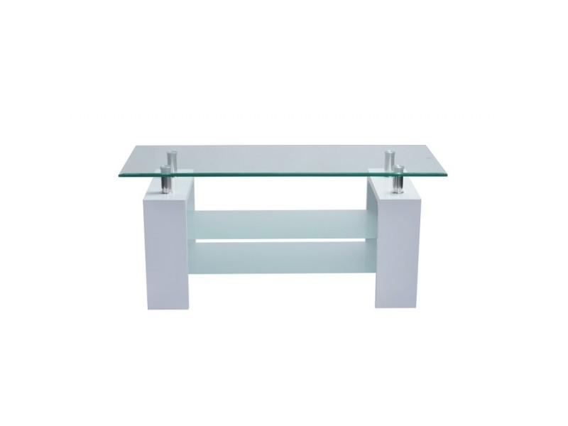 Table basse pisa rectangulaire design plateau en verre et doubles sous-plateau en verre sablé, pieds coloris blanc.