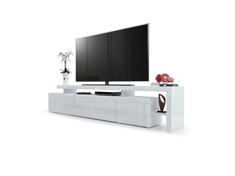 Meuble tv laqué blanc 227 cm