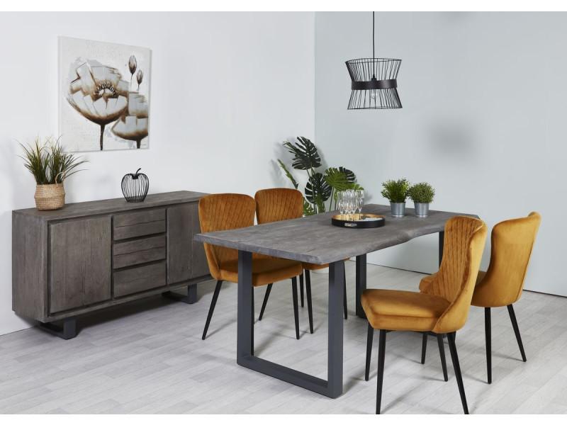 Bobochic table 180 cm awa bois acacia massif et pieds carré métal gris gris