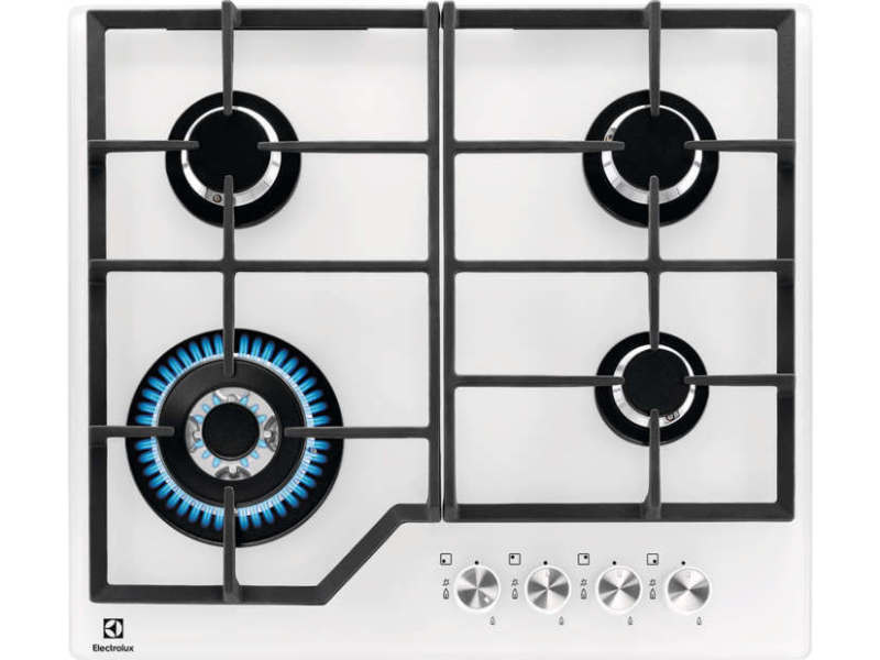 Table de cuisson gaz 59cm 4 feux 8900w blanc - kgg6436w kgg6436w
