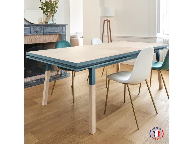 Table extensible bois massif 160x100 cm bleu frehel - 100% fabrication française
