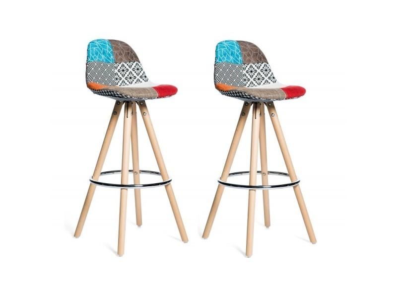 lot 2 tabourets de bar patchwork tissu design diana. Black Bedroom Furniture Sets. Home Design Ideas