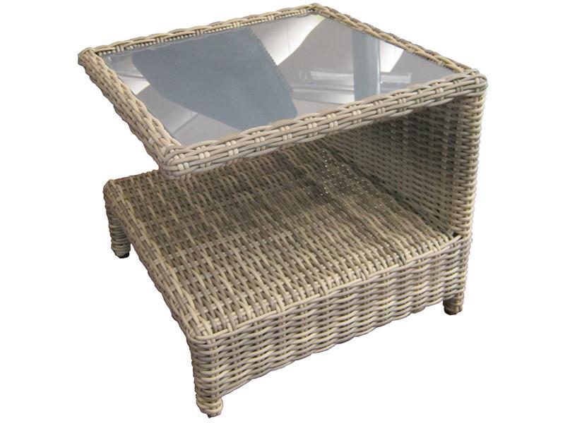 Table basse de jardin en rotin synthètique avec double étages - dim : h 43 x l 49 x p 49 cm