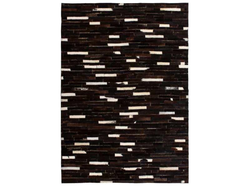Vidaxl tapis cuir véritable patchwork 120 x 170 cm rayures ...