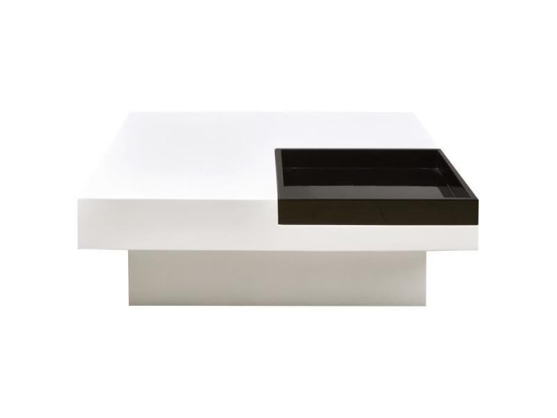Iriga table basse carree style contemporain blanc et noir laque - l 90 x l 90 cm 18115BN