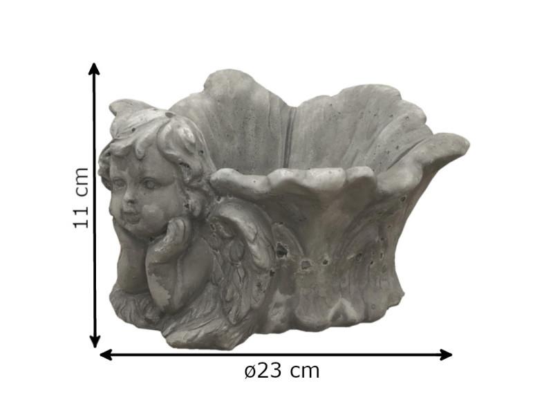 Jardinière cache pot vasque ange en terre cuite 11 cm x ø23 ...