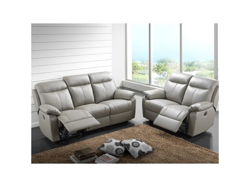 Canapé 3p relax + 2p relax électrique cuir gris - vyctoire - l 201 x l 95 x h 101 - neuf