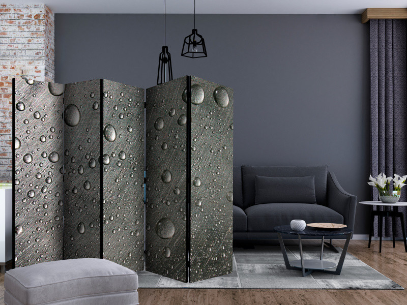 225x172 paravent 5 volets paravents 5 volets moderne steel surface with water drops ii [room dividers]
