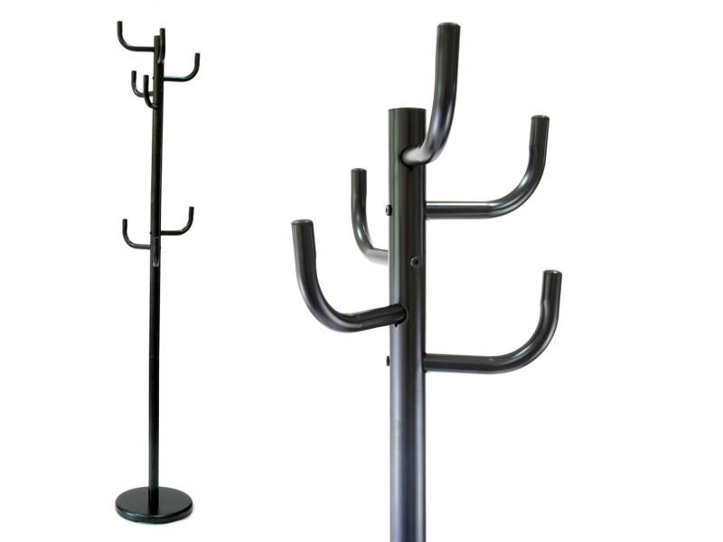 Hangly - porte manteaux sur pied 8 patères deux niveaux h 175 cm entrée/couloir/hall - vestiaire moderne salon - dressing - noir