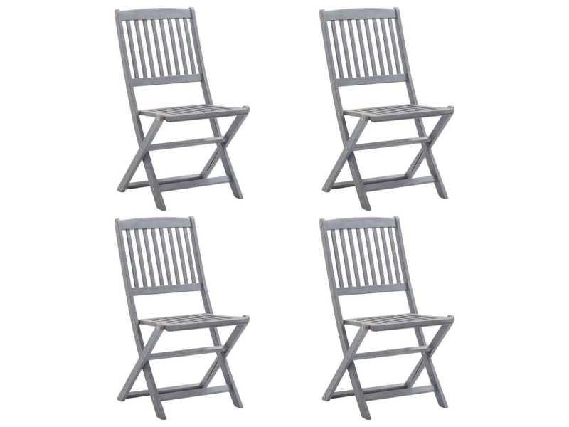Joli sièges de jardin reference panama chaises pliables d'extérieur 4 pcs bois d'acacia solide