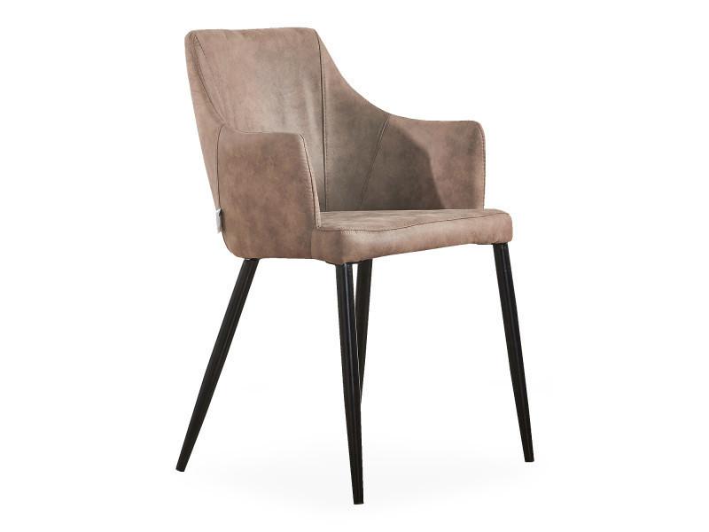 Chaise zarah en simili cuir marron clair - rembourrée