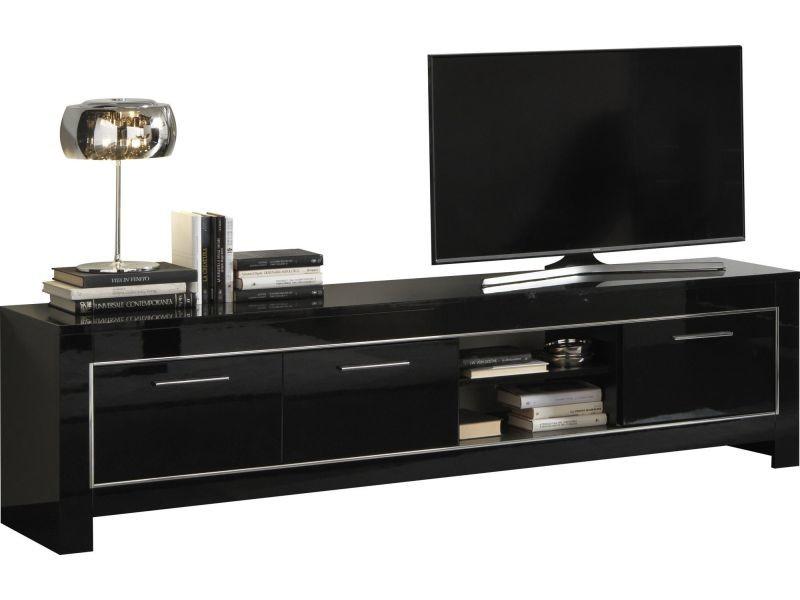 Meuble tv design noir laqu brillant de 207 cm vente de - Meuble tv noir brillant ...