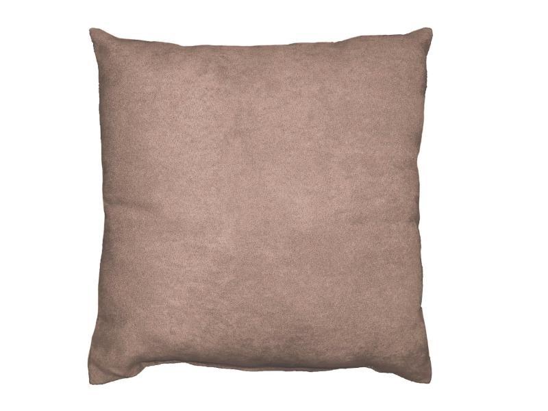 Coussin suede uni suedine sable 40 x 40 cm
