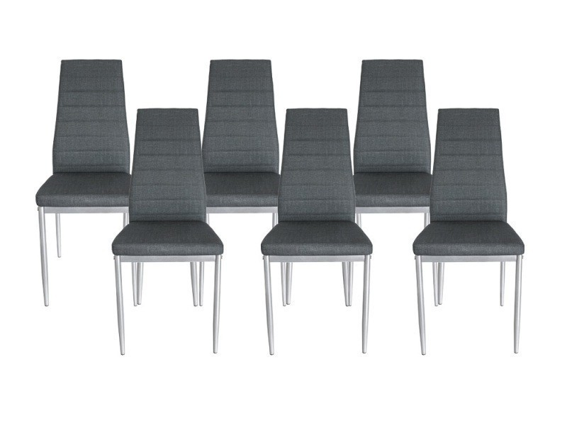 lot de 6 chaises en simili cuir couleur gris vente de chaise conforama. Black Bedroom Furniture Sets. Home Design Ideas