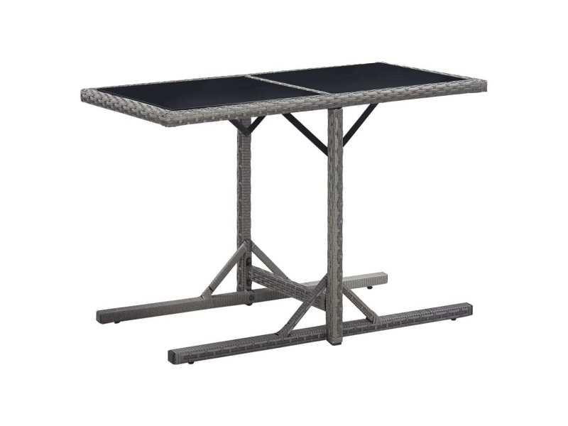 Inedit mobilier de jardin collection djibouti table de jardin anthracite 110x53x72 cm verre et résine tressée