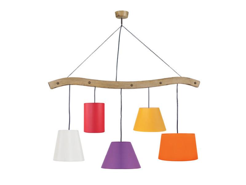 Tosel-tacks-poutre, lustre poutre 5 lumière; orange, blanc, noir, rouge, violet, jaune, créme, taupe, marron, gris